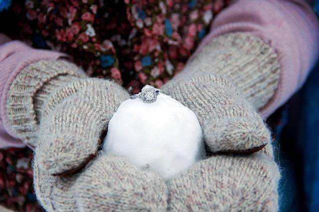 rukavice, sněhová koule, prsten