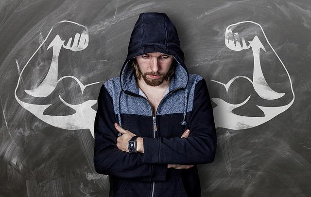 muž, kapuca, svaly, ruce